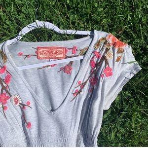 Johnny Was Dresses - Johnny Was LA Floral Embroidered V Cut Grey Dress
